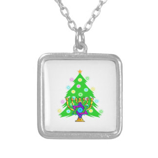 Chanukah Menorah Christmas Tree Square Pendant Necklace