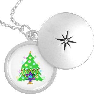 Chanukah Menorah Christmas Tree Round Locket Necklace