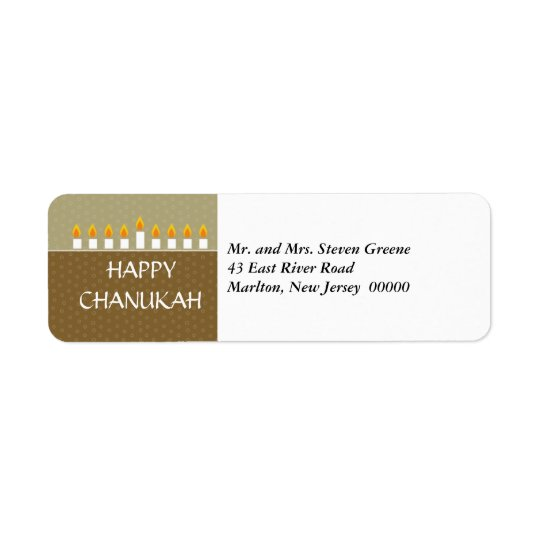 Chanukah Menorah Return Address Label