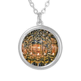 Chanukah Menorah with Oil Lights Round Pendant Necklace