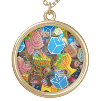 Chanukah Menorahs, Dreidels, Gelt Gold Plated Necklace