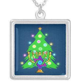 Chanukkah and Christmas Square Pendant Necklace