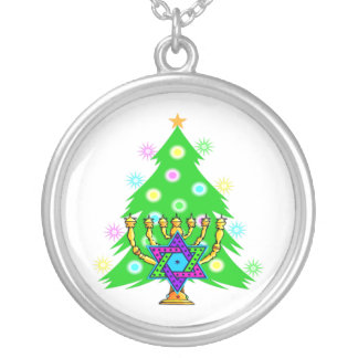 Chanukkah and Christmas Round Pendant Necklace
