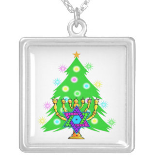 Chanukkah and Christmas Silver Plated Necklace