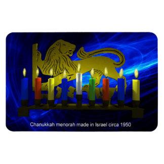 Chanukkah Brass Lion Menorah Rectangular Photo Magnet