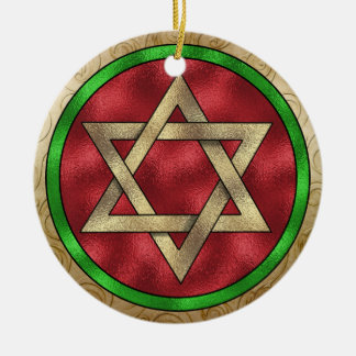 Chanukkah Star of David Round Ceramic Decoration