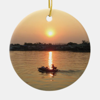 Chao Phraya River Sunset ... Ayutthaya, Thailand Christmas Ornament