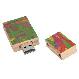 Chaos abstract pattern wood USB 2.0 flash drive