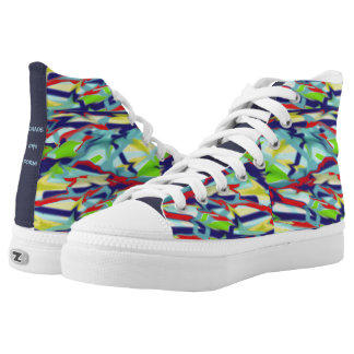 Chaos into Form Blue (denser) Design Hi Top Shoes Printed Shoes