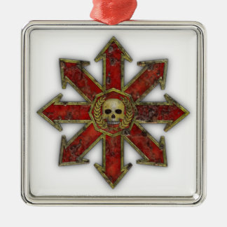 Chaos – Red Silver-Colored Square Decoration