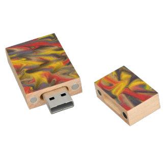 Chaotic piece of art wood USB 2.0 flash drive
