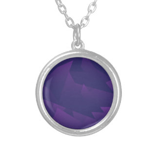 Chaotic Violet Triangles Round Pendant Necklace