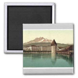 Chapel Bridge and view of Pilatus, Lucerne, Switze Square Magnet