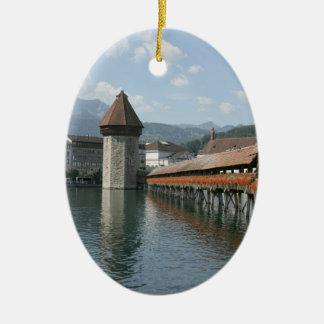 Chapel Bridge, Lucerne, Switzerland Christmas Ornament