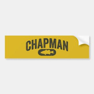 Chapman Bass Fishing Logo - Vintage Mustard Yellow Bumper Sticker