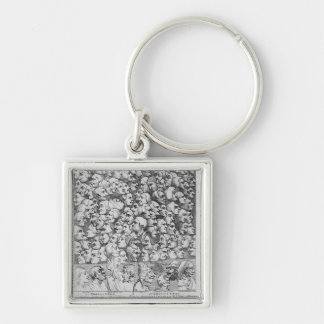 Characters and Caricatures Silver-Colored Square Key Ring