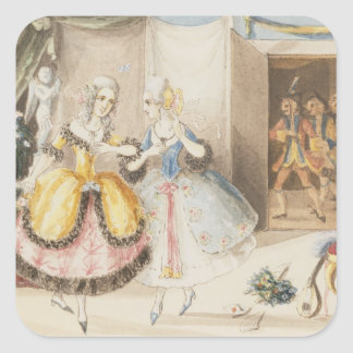 Characters from 'Cosi fan tutte' by Mozart, 1840 Square Sticker