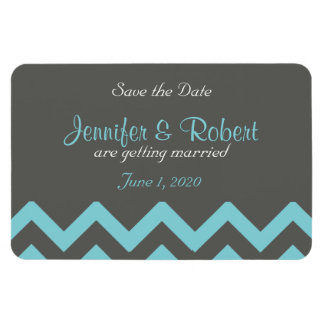 Charcoal and Aqua Chevron Wedding Save the Date Magnet
