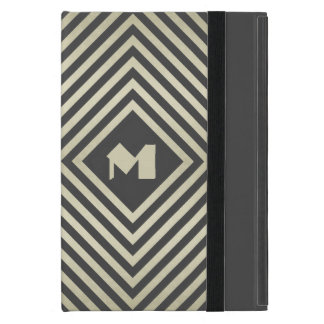 Charcoal and Beige Diamond Monogram iPad Mini Case