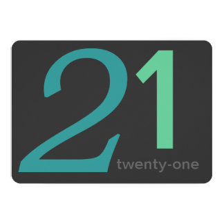 Charcoal and Blue Custom 21st Birthday Invitation
