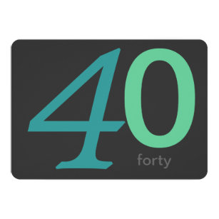 Charcoal And Blue Custom 40th Birthday Invitation