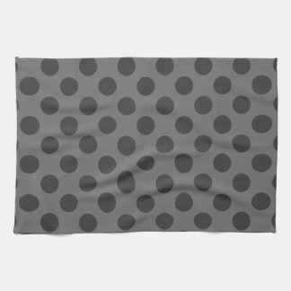 Charcoal and Dark Gray Polka Dots Tea Towel