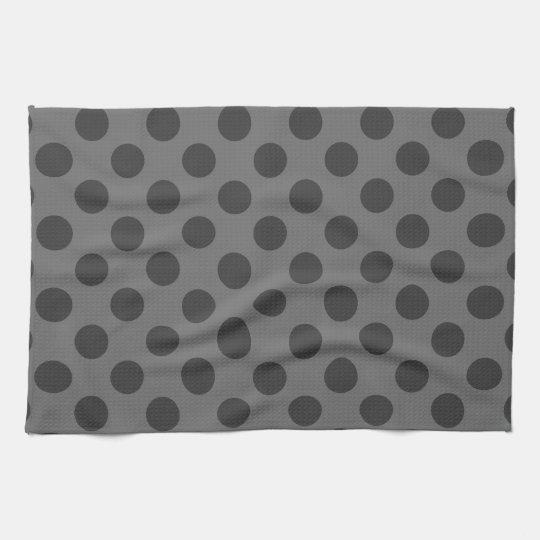 Charcoal and Dark Grey Polka Dots Tea Towel