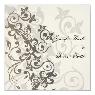 Charcoal and Ivory Filigree Wedding Invitation