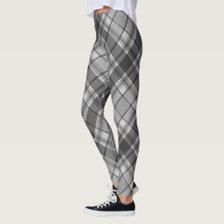 Charcoal and light gray plaid leggings
