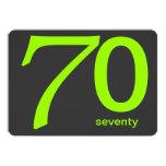 Charcoal and Lime Custom 70th Birthday Invitation 13 Cm X 18 Cm Invitation Card