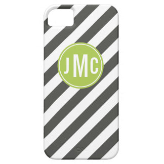 Charcoal and Lime Stripes with Custom Monogram iPhone 5 Cases