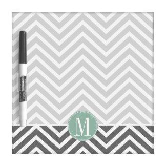 Charcoal and Mint Green Chevrons Custom Monogram Dry Erase Board