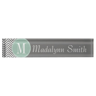Charcoal and Mint Green Chevrons Custom Monogram Name Plates