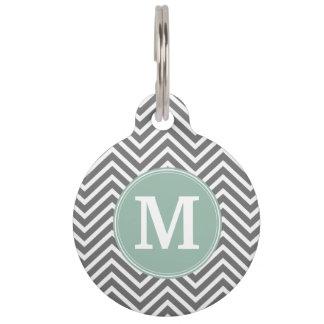 Charcoal and Mint Green Chevrons Custom Monogram Pet ID Tag