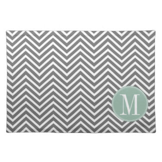 Charcoal and Mint Green Chevrons Custom Monogram Placemat