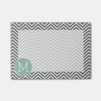 Charcoal and Mint Green Chevrons Custom Monogram Post-it Notes