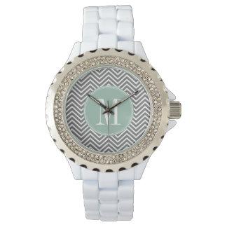 Charcoal and Mint Green Chevrons Custom Monogram Watch