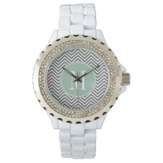 Charcoal and Mint Green Chevrons Custom Monogram Wristwatches