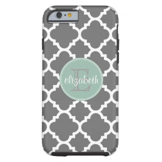 Charcoal and Mint Quatrefoil Pattern Monogram Tough iPhone 6 Case