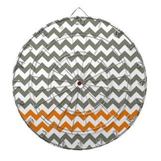 Charcoal and Orange Chevron Stripes Dartboard