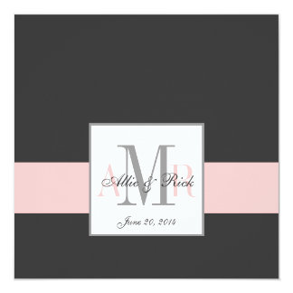Charcoal and Pink Monogram Wedding Invitation
