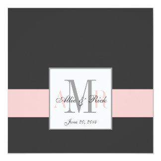 Charcoal and Pink Monogram Wedding Invitation