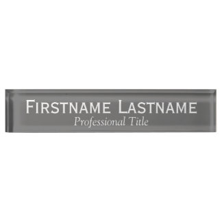 Charcoal and White Name and Professional Title Nameplate