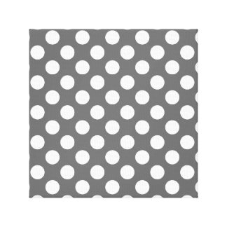 Charcoal and White Polka Dots Canvas Print