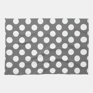 Charcoal and White Polka Dots Tea Towel