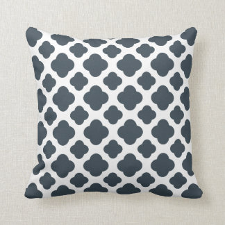 Charcoal and White Quatrefoil Pattern Cushion