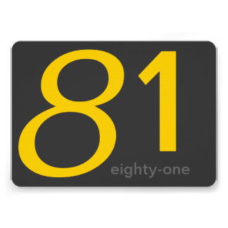 Charcoal and Yellow Custom 81st Birthday Invite