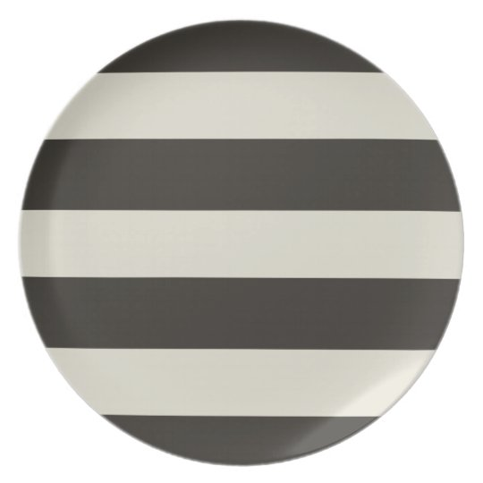 Charcoal & Beige stripes Plate