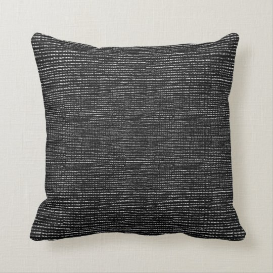 Charcoal Black and White Woven Thread Effect Cushion