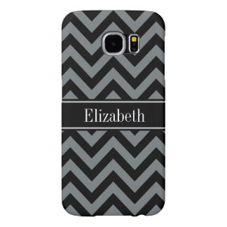 Charcoal, Black LG Chevron Black Name Monogram Samsung Galaxy S6 Cases